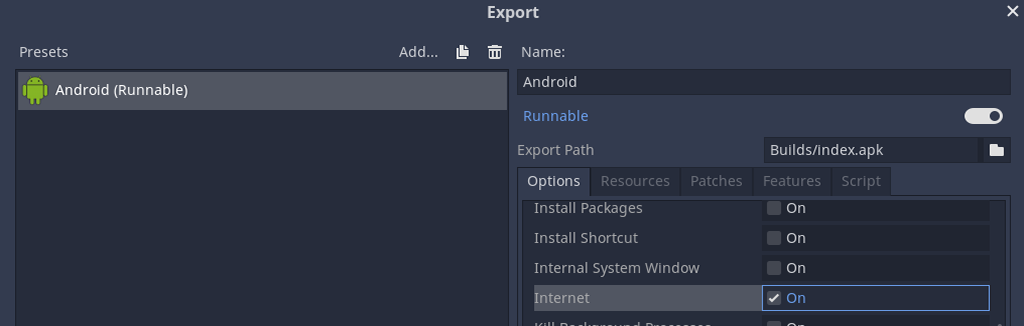 Toggle Internet on in Godot Android export menu