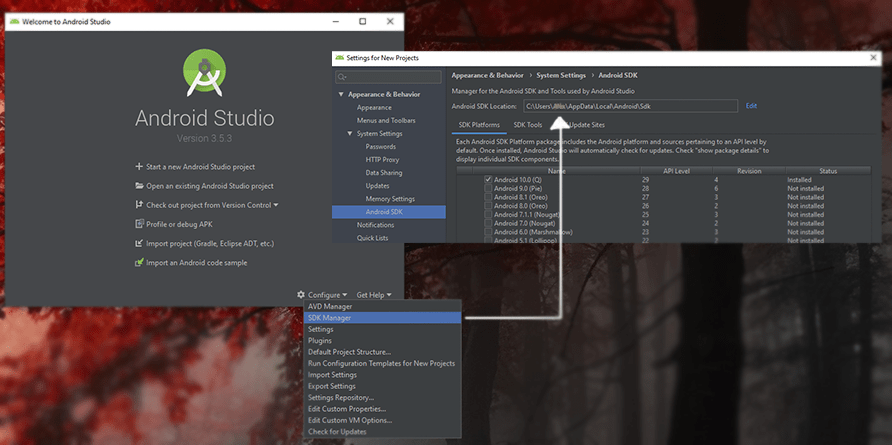 Find your SDK Location for Godot using Android Studio