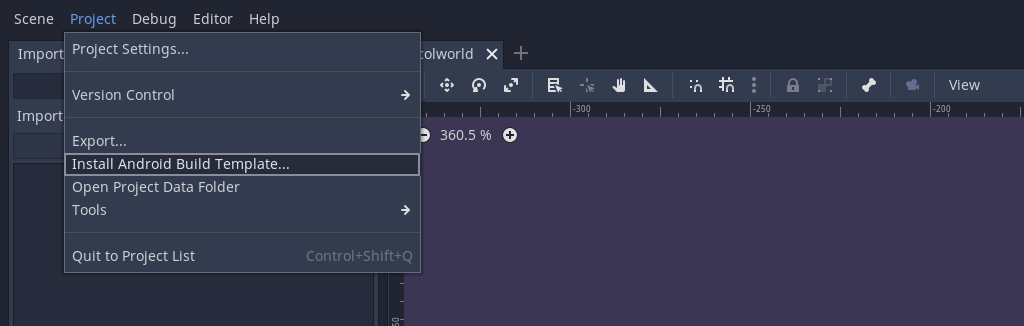 Select Install Android Build Template in Godot