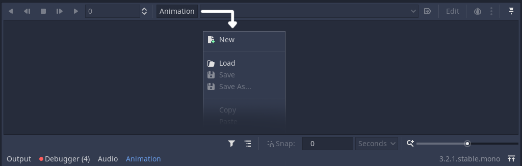 Animation panel in Godot that displays how to create a new animation