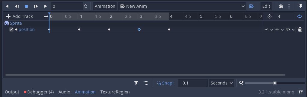 Animation window in Godot, displaying keyframes that move an object