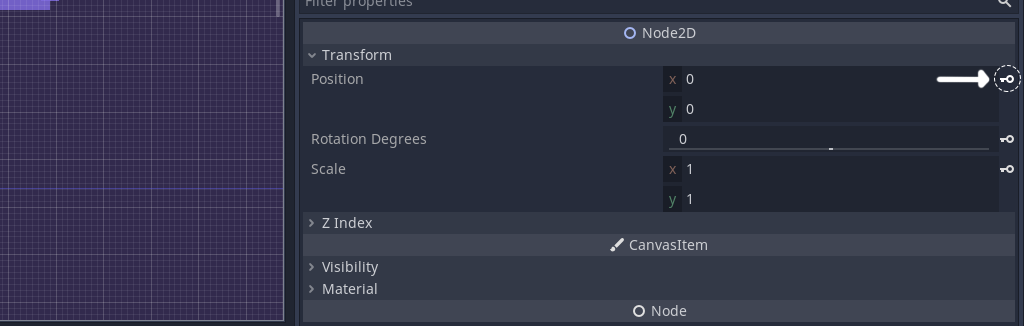 View of Node2D properties in Godot, how to add a keyframe to move an objects position